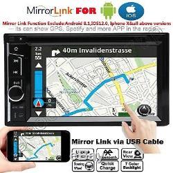 Miroir Lien Pour Gps Double 2din 6.2 Car Stereo + Caméra De Recul Écran Tactile Radio