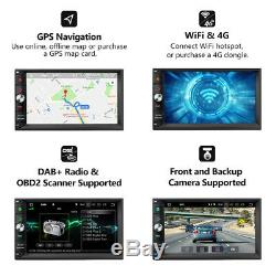 Octa-core Android 8.0 4 Go De Ram 7 Double 2din Radio Stéréo De Voiture Gps Navi Dab + Obd2