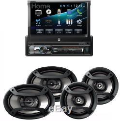 Récepteur Double Simple Din Bluetooth W 7 Dégagez Écran Tactile 6.5 + 6x9 Haut-parleurs